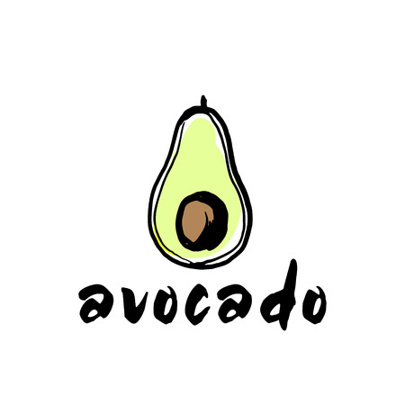Avocado sketch ingredient sign color vector illustration