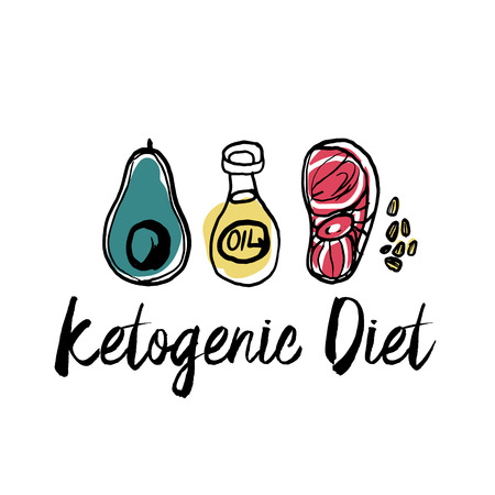 Ketogenic diet set sign keto ingredient illustration sketch Stock Vector - 116414582