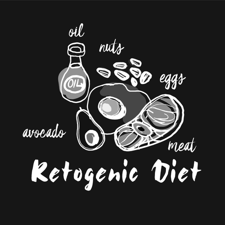 Ketogenic diet set sign keto ingredient illustration chalk sketch 向量圖像