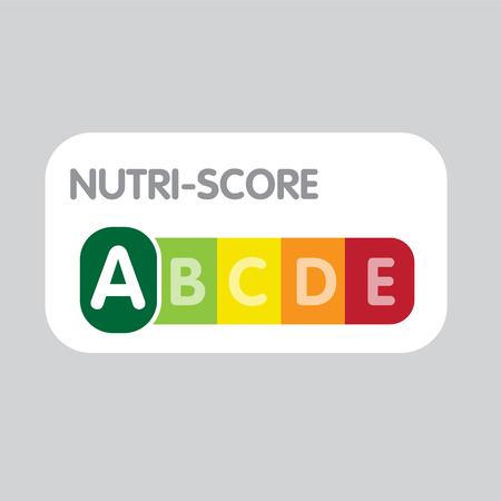 Nutri-Score franchisesysteem. Kleurenschaal variërend. Meld gezondheidszorg voor verpakking