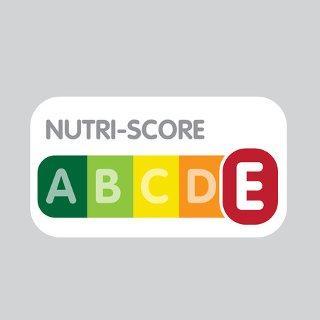 Nutri-Score franch system. Color scale ranging. Sign health care for packaging