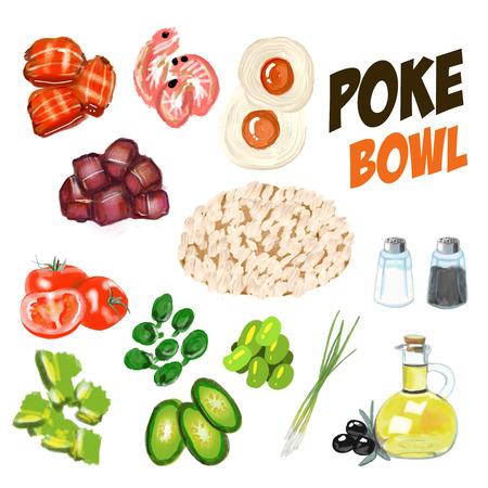 Poke Bowl Hawaiian cuisine food natural restaurant 版權商用圖片