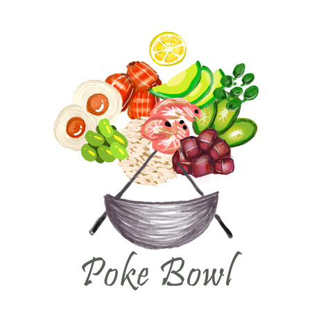 Poke Bowl Hawaiian cuisine food natural restaurant hand drawn illustration healthy menu element seafoodand rice art