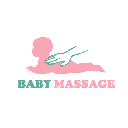Baby newborn massage  with hands vector
