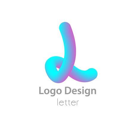 Light blue violet logo letter 3D effect