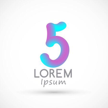 Five neon number 5 logo icon fluid set