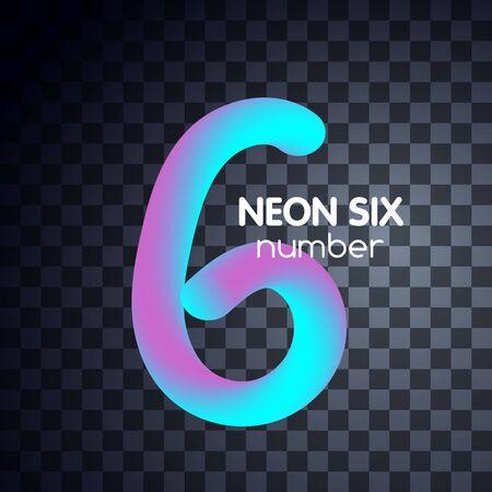 Six neon number 6 logo icon fluid set 版權商用圖片 - 133012789