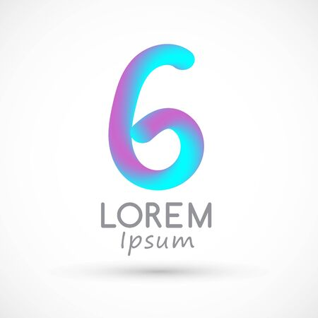 Six neon number 6 logo icon fluid set 向量圖像