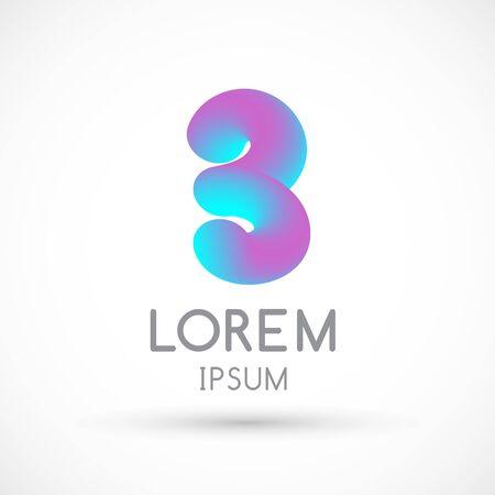 Three neon number 3 logo icon fluid lignt blue violet vector illustration