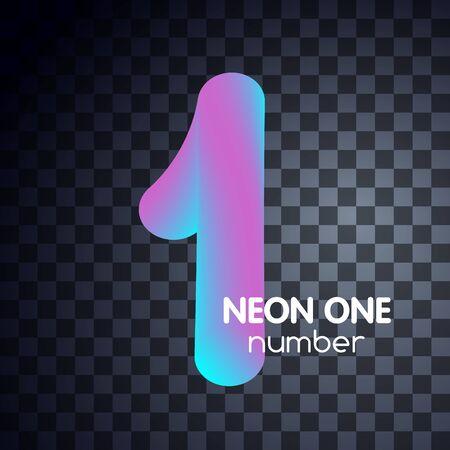 One neon number 1 logo icon fluid lignt blue violet vector illustration