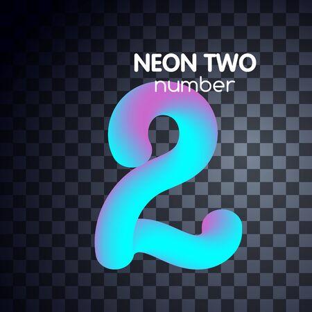 Two neon number 2 logo icon fluid lignt blue violet vector illustration 向量圖像