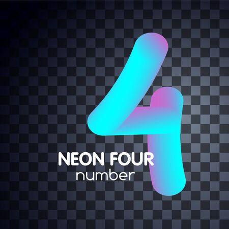 Four neon number 4 logo icon fluid lignt blue violet vector illustration