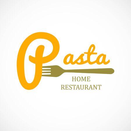 Graphic logo pasta and fork spaghetti icon food italian home restaurant design