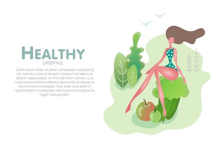 Flat slim girl with vegetables healthy food banner