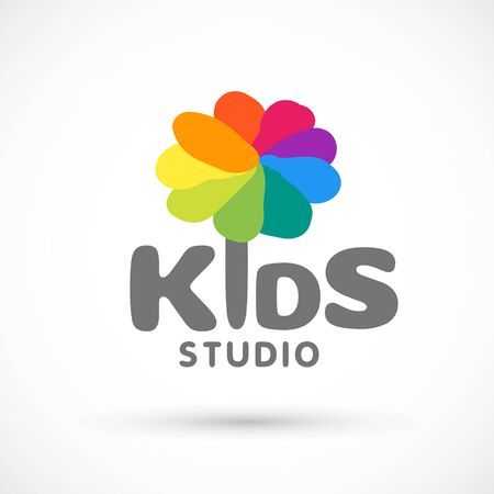 Kids zone area sector for game logo illustration studio sign game toy template bright rainbow flower sticker 版權商用圖片 - 133012812