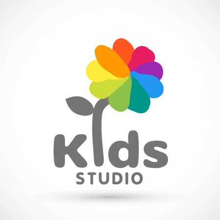Kids zone area sector for game logo illustration studio sign game toy template bright rainbow flower sticker 版權商用圖片 - 133012815