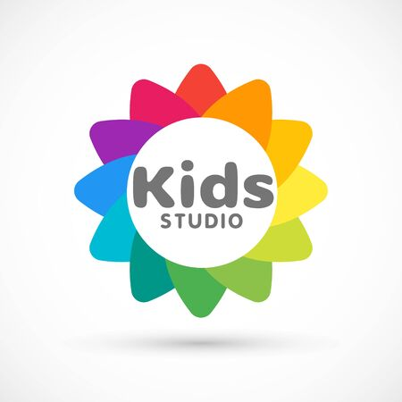 Kids zone area sector for game logo illustration studio sign game toy template bright rainbow flower sticker 版權商用圖片 - 133012816