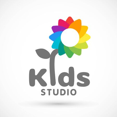 Kids zone area sector for game logo illustration studio sign game toy template bright rainbow flower sticker 版權商用圖片 - 133012817