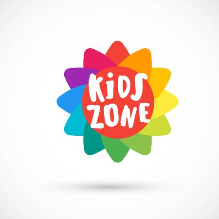 Kids zone area sector for game logo illustration studio sign game toy template bright rainbow flower sticker 版權商用圖片 - 133012819