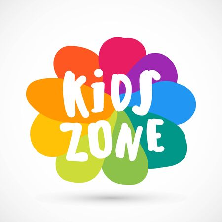 Kids zone area sector for game logo illustration studio sign game toy template bright rainbow flower sticker 版權商用圖片 - 133012821