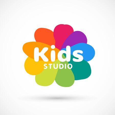 Kids zone area sector for game logo illustration studio sign game toy template bright rainbow flower sticker 版權商用圖片 - 133012822