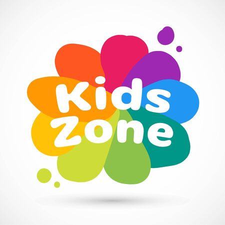 Kids zone area sector for game logo illustration studio sign game toy template bright rainbow flower sticker