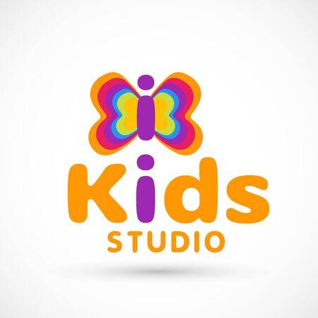 Kids logo illustration studio butterfly sign raibow game toy template orange