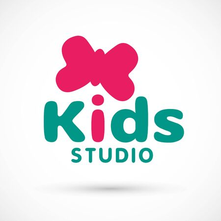 Kids logo illustration studio butterfly sign game toy template bright 向量圖像