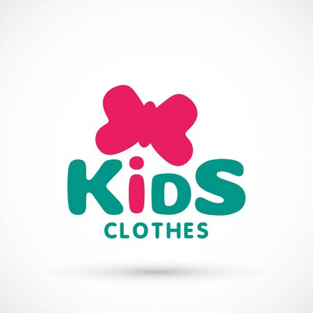 Kids logo clothes shop store illustration studio butterfly sign game toy template bright 版權商用圖片 - 133012828