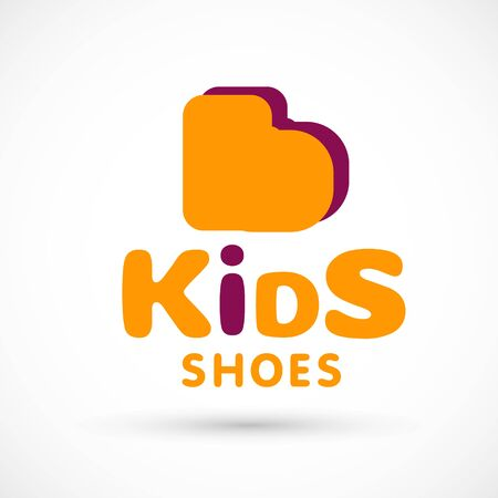 Kids logo shoes shop store illustration booties sign game toy template bright 版權商用圖片 - 133012829