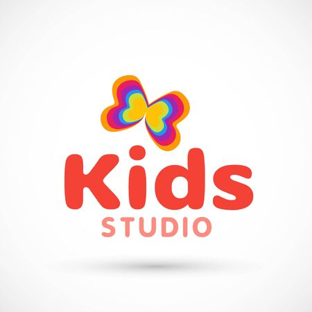 Kids logo illustration studio butterfly sign raibow game toy template red