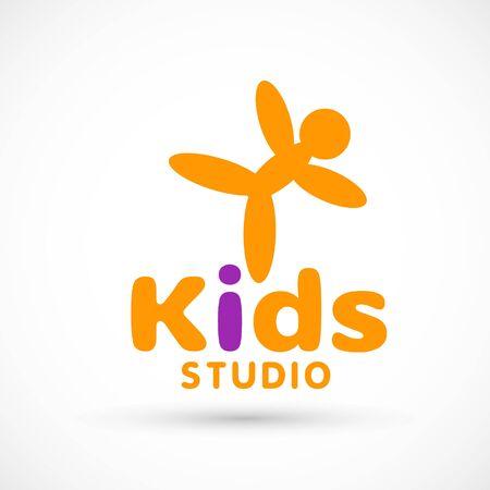 Kids logo illustration studio sign orange game toy template dance studio air ball