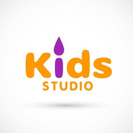 Kids logo brush illustration studio sign violet orange toy template studio