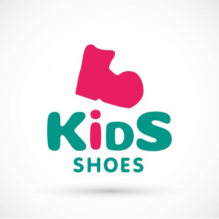 Kids logo shoes shop store illustration booties sign game toy template bright 版權商用圖片 - 133012834