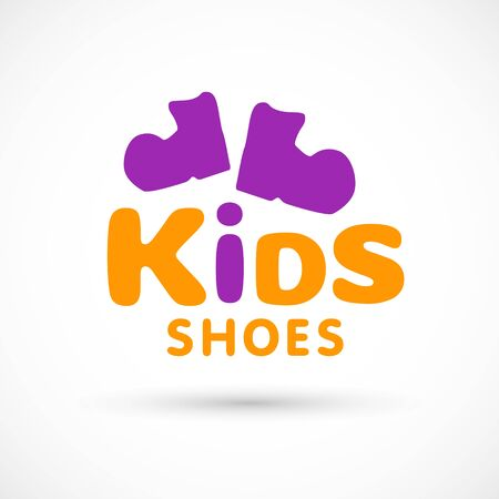 Kids logo shoes shop store illustration booties sign game toy template bright 向量圖像