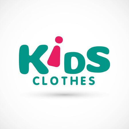 Kids logo clothes shop store illustration studio butterfly sign bell or dress game toy template bright 版權商用圖片 - 133012836