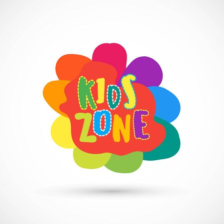 Kids zone area sector for game logo illustration studio sign game toy template bright rainbow flower sticker 版權商用圖片 - 133012837