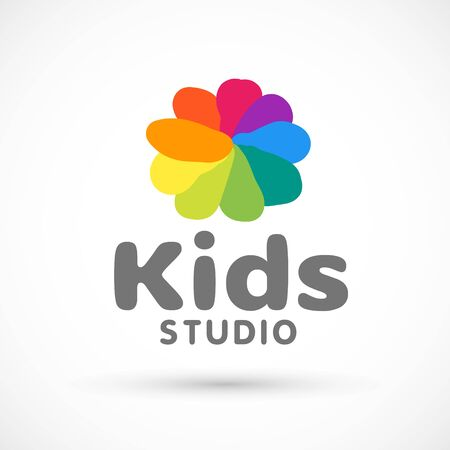 Kids zone area sector for game logo illustration studio sign game toy template bright rainbow flower sticker 版權商用圖片 - 133012840