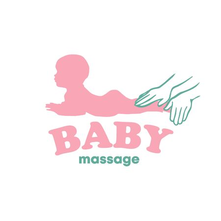 Baby newborn massage logo with hands vector illustration 向量圖像
