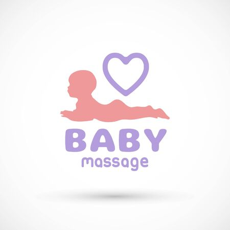 Logo Baby health icon massage or doctor care icon body child symbol silhouette