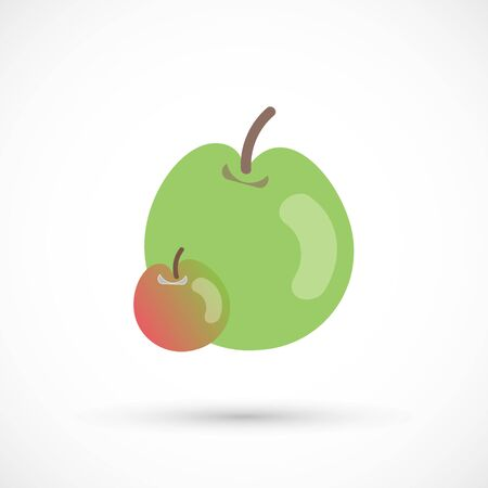 Two isolated green and red c vector apples, colors isolated fruits 向量圖像