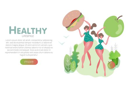 Flat slim girl with vegetables healthy food banner diet plan woman character health lifestyle organic nutrition hamburger