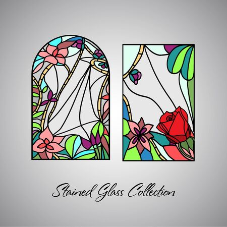 Floral bright stained glass decorative pattern colored mosaic window 向量圖像