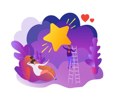 A young man romantic performs a feat for a girl, pulls a star from the sky, standing on the stairs. Flat scene cartoon illustration vector style.
