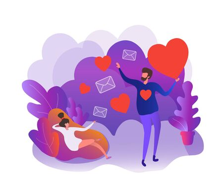 Young man sends letters love heart for a girl, showers with hearts. Flat scene cartoon illustration vector style. Send love message, meeting, dating for relationship