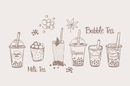 Tapio?a milk bubble tea drink set sketch boba smoothie vector illustration collection cup