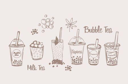 Tapio?a milk bubble tea drink set sketch boba smoothie vector illustration collection cup