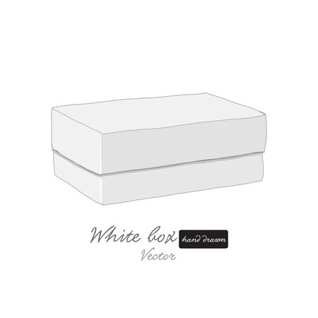 White box freehand hand drawn illustration package vector shape isolated with white base