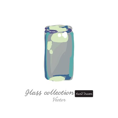 Empty glass bottle hand drawn illustration isolated with white base vector
