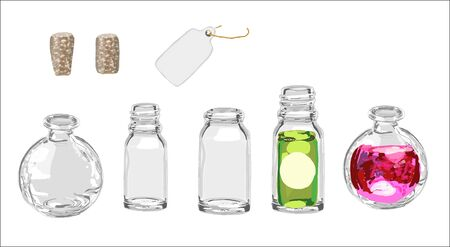 Empty glass bottle hand drawn illustration isolated with white base vector Banque d'images - 130807041